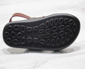 Мъжки сандали естествена кожа червени JTOD-24670