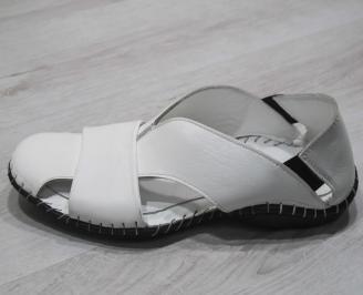 Мъжки сандали естествена кожа  бели CVEC-24829