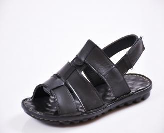 Мъжки сандали естествена кожа черни AWTZ-27426