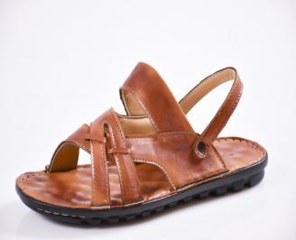 Мъжки сандали естествена кожа кафяви WJST-27431