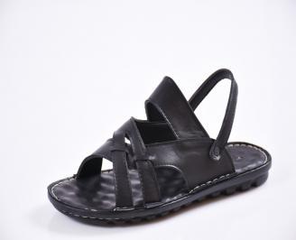 Мъжки сандали естествена кожа черни VLKM-27435