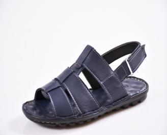 Мъжки сандали естествена кожа сини LFWJ-27438