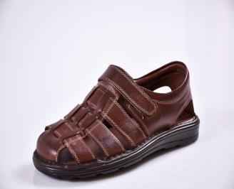 Мъжки сандали естествена кожа кафяви ZMJV-27601