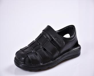 Мъжки сандали естествена кожа черни QFWP-27602