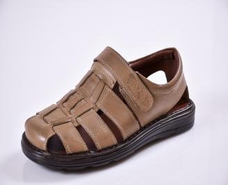 Мъжки сандали естествена  кожа бежови XBKB-27603