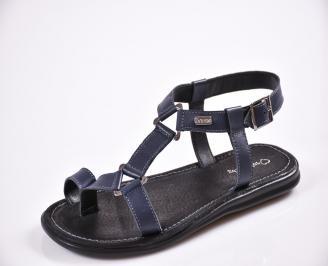 Мъжки сандали естествена кожа сини POMQ-27608