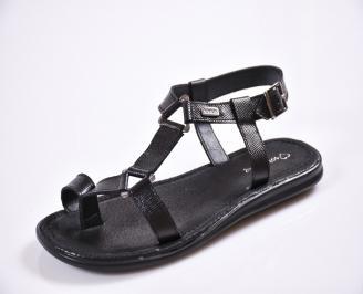 Мъжки сандали естествена кожа черни PGOZ-27611