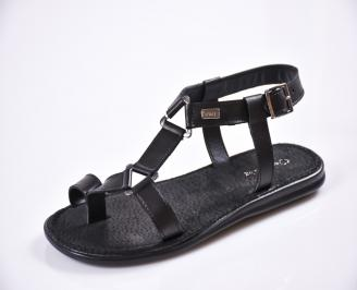 Мъжки сандали естествена кожа черни XCOB-27612