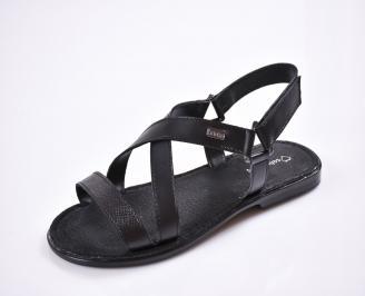 Мъжки сандали естествена кожа черни ZMFQ-27615