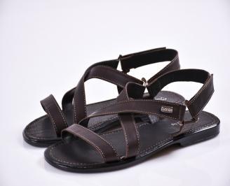 Мъжки сандали естествена кожа кафяви HZYA-27834