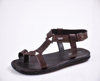 Мъжки сандали естествена кожа кафяви IUAO-27840
