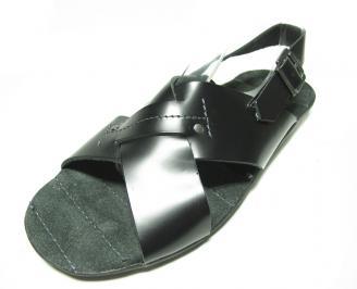 Мъжки сандали естествена кожа черни OQKN-13579