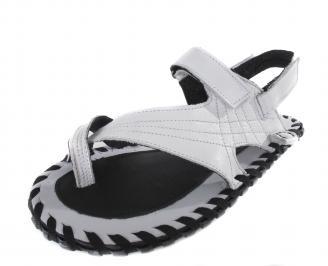 Мъжки сандали естествена кожа бели YUPK-14340