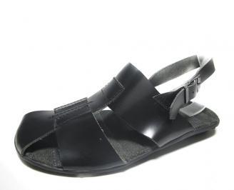 Мъжки сандали естествена кожа черни JTJF-14752