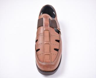 Мъжки сандали -Гигант естествена кожа кафяви SPFZ-1012618