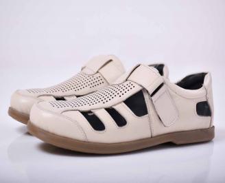 Мъжки сандали-Гигант естествена кожа бежови PQVB-1015621