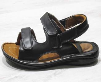 Мъжки сандали -Гигант естествена кожа черни GEOY-24557