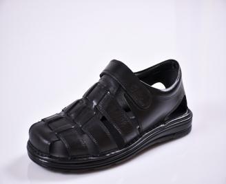 Мъжки сандали -Гигант естествена кожа черни YISQ-27599