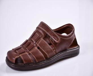Мъжки сандали -Гигант естествена кожа кафяви AQPL-27600
