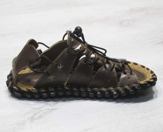 Мъжки сандали кафяви естествена кожа LUVS-24661