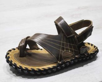 Мъжки сандали кафяви естествена кожа KWAV-24666