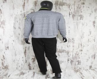 Мъжки спортен екип памук сив QOWC-23243