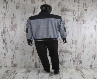 Мъжки спортен екип памук черно/сиво FUTU-24566