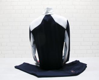 Мъжки спортен екип памук тъмно син/сив VFAY-25024