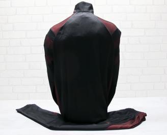 Мъжки спортен екип памук черно/червено WAFU-25034