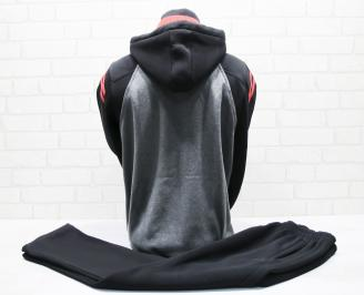 Мъжки спортен екип памук черен с червен кант YSTA-25665