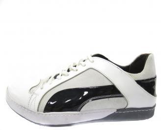 Мъжки спортни обуки естествена кожа бели WQCJ-11240