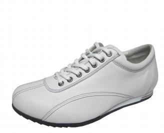 Мъжки спортни обувки бели естествена кожа GABG-18851