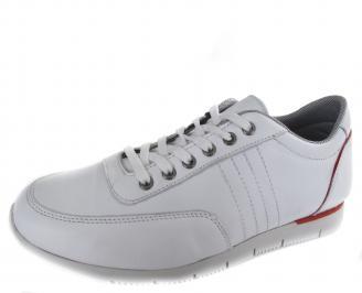 Мъжки спортни обувки бели естествена кожа WREN-19311