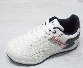 Мъжки спортни обувки Bulldozer еко кожа бели OTRV-23193