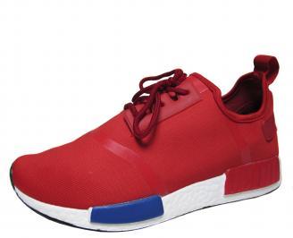 Мъжки спортни обувки червени текстил IKDT-21509