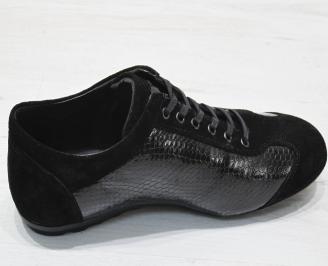 Мъжки спортни обувки черни естествена кожа/лак HVWQ-23078