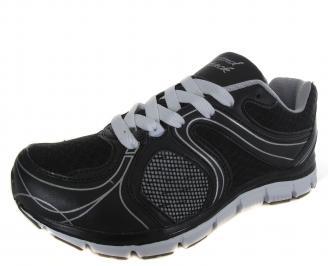 Мъжки спортни обувки черни еко кожа/текстил MKUR-19107