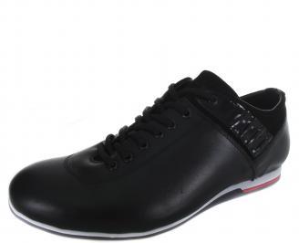 Мъжки спортни обувки черни естествена кожа SRTH-19216