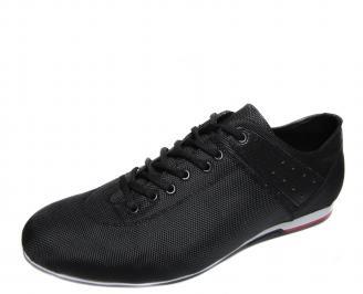 Мъжки спортни обувки черни естествена кожа PMHA-19219