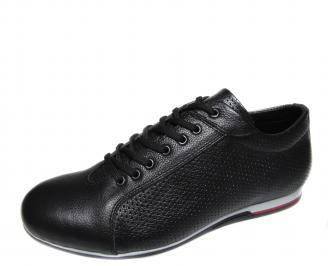 Мъжки спортни обувки черни естествена кожа UYTI-19223