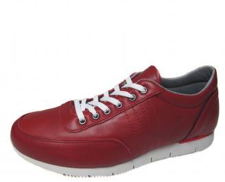 Мъжки спортни обувки червени естествена кожа FPLK-19303