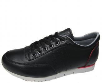 Мъжки спортни обувки черни естествена кожа VRHQ-19310