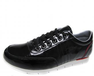 Мъжки спортни обувки черни естествена кожа/лак QTUE-19527