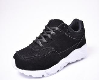 Мъжки спортни обувки еко велур черни PUZI-1010291