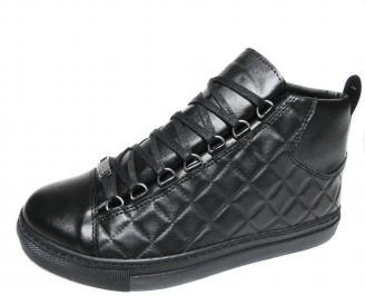 Мъжки  спортни обувки еко кожа черни OBNQ-20537