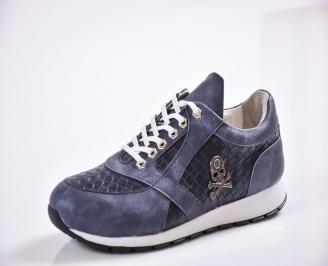 Мъжки спортни обувки еко кожа сини KOAB-22269