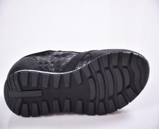 Мъжки спортни обувки еко кожа черни DLAW-22292