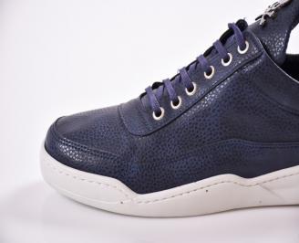 Мъжки спортни обувки еко кожа тъмно сини KPQF-22295