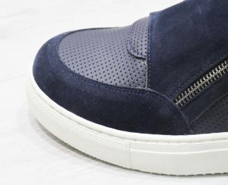 Мъжки спортни обувки еко кожа тъмно сини CFBL-23473