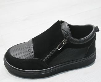 Мъжки спортни обувки еко кожа черни QAZA-23479